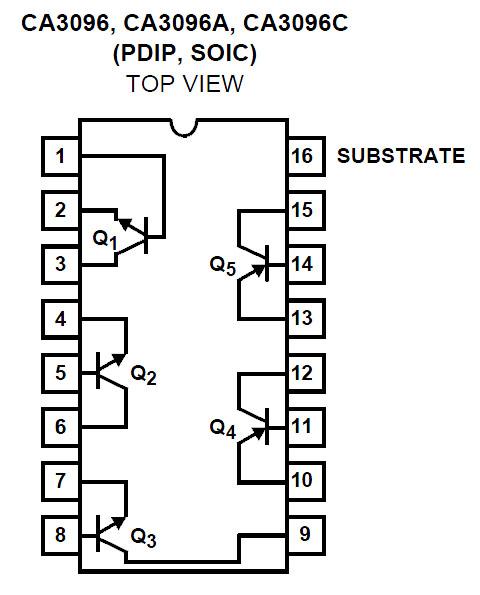 ca3096e transistor array pdip 16